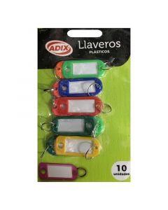 Llaveros con Placas de Identificación de Colores 10 UND