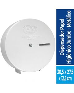 Dispensador Papel Higiénico Alto Metraje  Metálico / Blanco