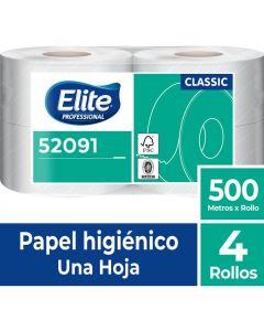 Papel Higiénico Alto Metraje H/S Económico Classic 500 MT x 4 Rollos