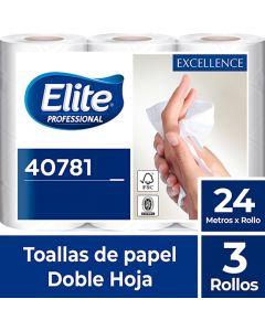 Toalla de Papel Bajo Metraje H/D Extra Blanca Excellence 24 MT x 3 Rollos